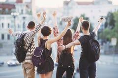 Jeunesse, amitié, unité, bonheur, liberté, étudiants ex Photos libres de droits