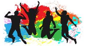 Jeunesse dans un saut colorée Homme gai et femme d'isolement illustration de vecteur