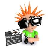 jeunesse punk de la bande dessinée 3d drôle tenant la claquette de film Image libre de droits