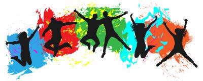 Jeunesse sautante sur le fond coloré Sauts des jeunes gais, amies illustration de vecteur
