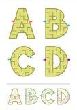 Jeux A, B, C, D de labyrinthe d'alphabet Image stock
