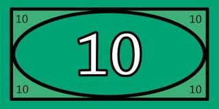 Jeux d'argent des 10 dollars Photographie stock libre de droits