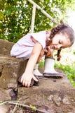 Jeux de bébé avec des hérissons Images stock
