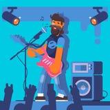 Jeux de Bass Guitarist sur la guitare électrique Caractère drôle de membre de groupe de rock Illustration de vecteur Image stock