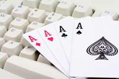 Jeux de carte en ligne Photo libre de droits