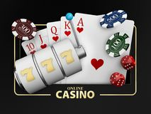 Jeux de casino d'illustration conceptuelle de la bannière 3d de fortune des éléments de jeux de casino illustration stock