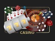 Jeux de casino d'illustration conceptuelle de la bannière 3d de fortune des éléments de jeux de casino illustration libre de droits