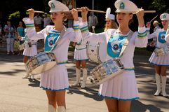 Jeux de filles sur tambours Photo libre de droits