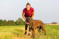 Jeux de jeune fille avec un chien de boxeur Photo stock