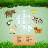 Jeux de mots croisé animaux pour des jeux d'enfants illustration libre de droits