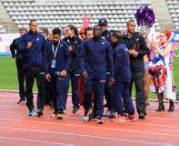 Jeux de plein air internationaux de DecaNation le 13 septembre 2015 à Paris, France Photos stock