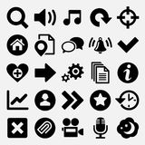 Jeux et icônes de Web réglées illustration stock