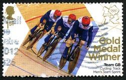 Jeux Olympiques BRITANNIQUES de recyclage du timbre-poste de gigaoctet d'équipe 2012 Images libres de droits
