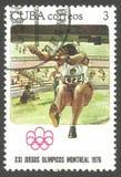 Jeux Olympiques Montréal, long saut Photo stock