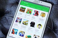 Jeux payés supérieurs dans le magasin de jeu de Google Images stock