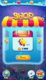 Jeux visuels de Web du monde de GUI d'écran mobile doux de boutique Photographie stock libre de droits