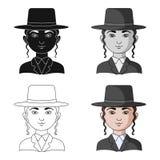 jew Único ícone da raça humana na Web da ilustração do estoque do símbolo do vetor do estilo dos desenhos animados ilustração stock