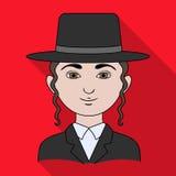 jew Único ícone da raça humana na Web lisa da ilustração do estoque do símbolo do vetor do estilo ilustração stock