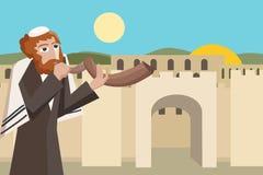 Jew blowing the shofar at jerusalim old city cartoon Royalty Free Stock Images