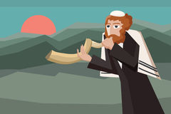 Jew blowing the shofar Stock Images