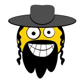 Jew man with hat. Jewish guy smiling cartooned head with classic hat Stock Photography