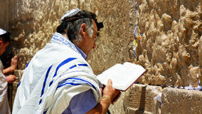 Jew pray at the Western Wall in Jerusalem Stock Image