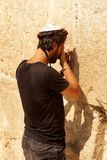 praying in front of Western Wall, Jerusalem 2018 stock images
