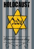 Jude star and pyjamas of concentration camp. Holocaust Remembrance Day stamp, Jude star and pyjamas of concentration camp royalty free illustration