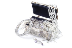 Jewel accessory. Metal jewelry open box with accessory on whitee background Stock Photo