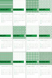 Jewel and axolotl colored geometric patterns calendar 2016 Stock Images