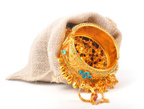 Jewel bag. On white background royalty free stock photography