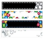 Jewel Banners. Vector illustration of four banners or headers with colorful jewels. There are clipping masks used on white banners Stock Images