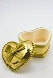 Jewel Box. Gold Heart Shaped Jewel Box Stock Images