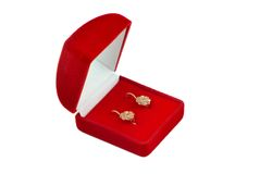 Jewel box with ear-rings inside. Stock Photo