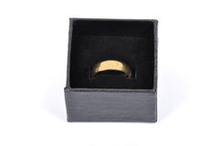 Jewel box with golden wedding ring Stock Images