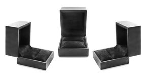 Jewel box. Group of three black jewel boxes on white background Royalty Free Stock Photography