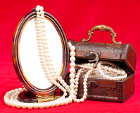 Jewel box with pearl Stock Image