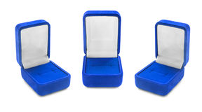 Jewel boxes. Group of blue empty jewel boxes on white background Royalty Free Stock Image
