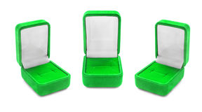 Jewel boxes. Group of green empty jewel boxes isolated over white Stock Image