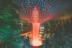 Free Jewel Changi Airport, Singapore - July 30th 2019 : Jewel Changi Airport Rain Vortex. The Largest Indoor Waterfall In The World . V Stock Photography - 158115582