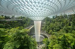 Free Jewel Changi And Its Huge Rain Vortex Waterfall Help Travelers Relax In Singapore`s Popular Airport Stock Photography - 156149272
