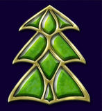 Jewel christmas tree. Christmas tree made of gold and green gems. Illustration. Isolated on blue Stock Images