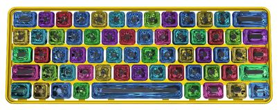 Jewel Computer Keyboard. Color crystal jewel button gold computer keyboard, isolated, 3d illustration, horizontal Stock Images