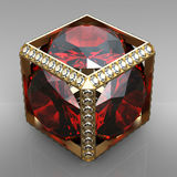 Jewel cube with gem. 3d jewel cube with gem royalty free illustration