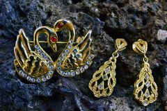 Jewel. Earring and brooch on a stone Royalty Free Stock Image