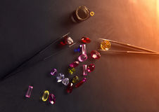 Jewel or gems on black shine color, Studio shot of beautiful gem Royalty Free Stock Photos