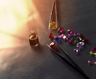 Jewel or gems on black shine color, Studio shot of beautiful gem Royalty Free Stock Images