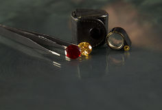 Jewel or gems on black shine color, Studio shot of beautiful gem Stock Image