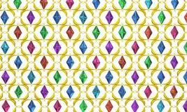 Jewel Gold Lattice. Color crystal jewel gold lattice over white, 3d illustration, horizontal Stock Photo