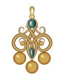Jewel gold pendant in  art deco style with green gemstone Stock Image